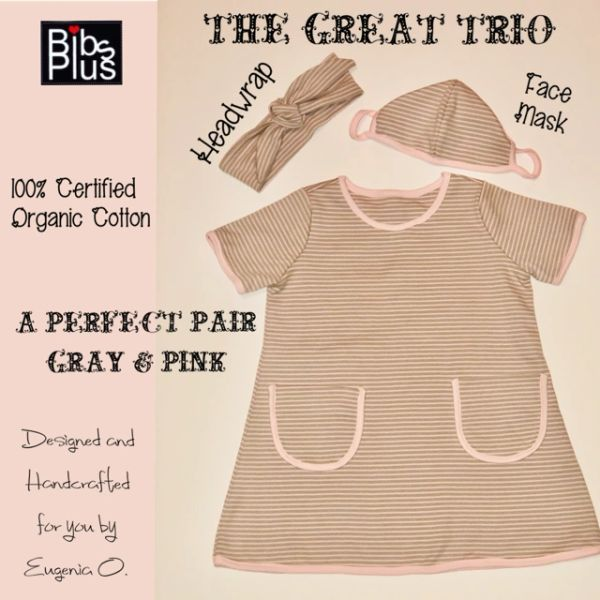 100% Certified Organic Cotton Trio Set - Dress, Face Mask & Headwrap