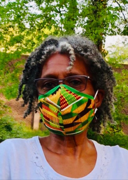 Adult Reusable Cotton Cloth Kente Face Masks with Green Trim - Handcrafted with Love