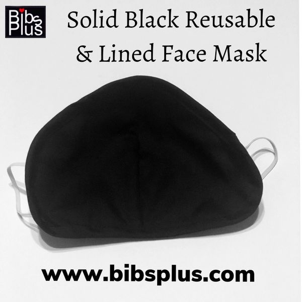 Adult Reusable Solid Black Cotton Cloth Face Masks - Handcrafted with Love
