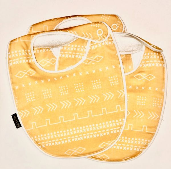 -Handcrafted Triple Layer, Yellow and White Printed Bib