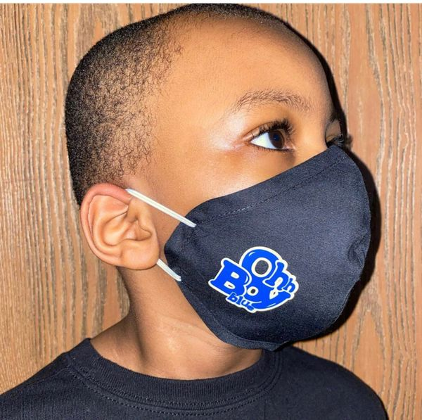 Youth Reusable Cotton Cloth Oh Boy Blue Face Masks