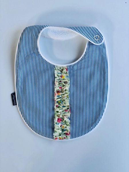 -Handcrafted Triple Layer Blue and White Petite Stripes with Floral Lace Bib