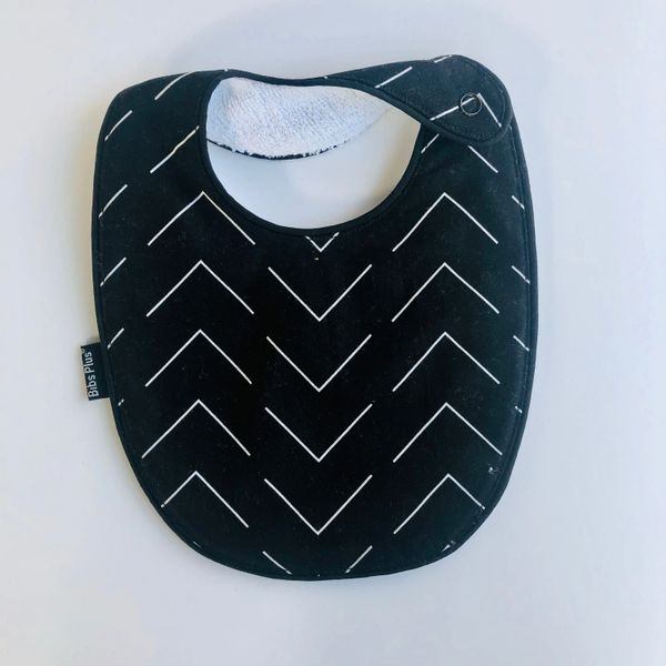-Handcrafted Triple Layer Black & White Cotton Bib