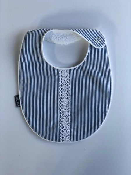 -Handcrafted Triple Layer Blue and White with White Lace Bib