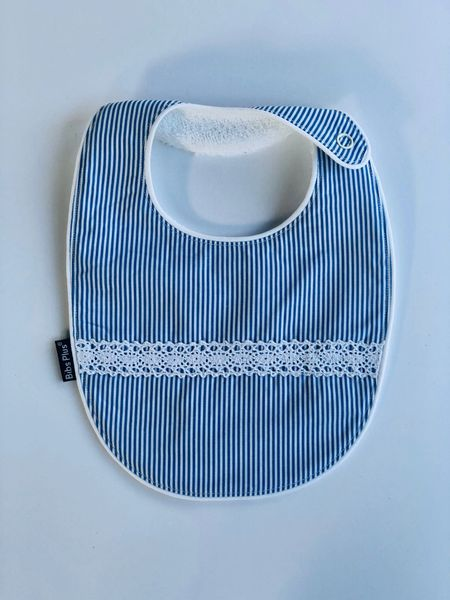 -Handcrafted Triple Layer Blue and White with White Horizontal Lace Bib