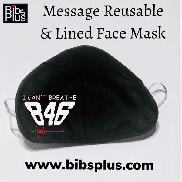 Adult Reusable I Can't Beathe Black Cotton Cloth Vinyl Imprint Message Face Masks