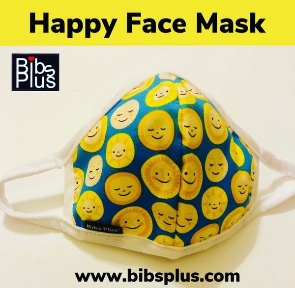 -Children Size Reusable Cotton Cloth Happy Face Mask