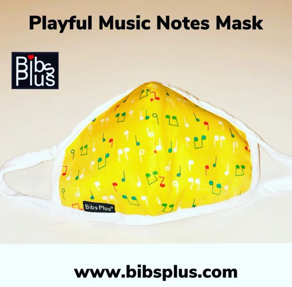 -Children Size Reusable Cotton Cloth Playful Music Notes Mask