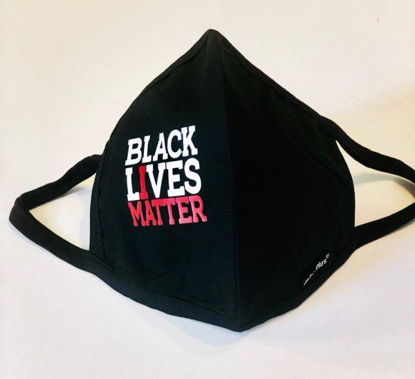 Adult Reusable Black Lives Matter Black Cotton Cloth Vinyl Imprint Message Face Masks