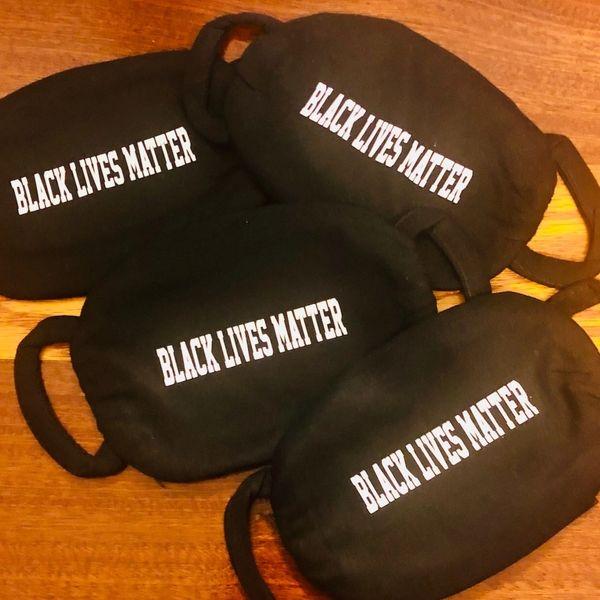 Adult Reusable Black Cotton Cloth BLM Vinyl Imprint Message Face Masks