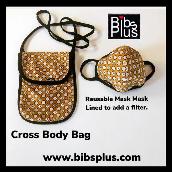 Adult Reusable Mask & Matching Cross Body Bag