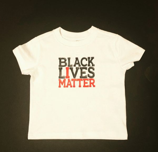 Black Lives Matter Vinyl Imprint Children White Tee