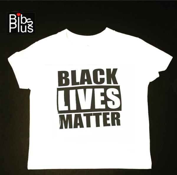 Black Lives Matter Vinyl Imprint Children White Tee with Black Font