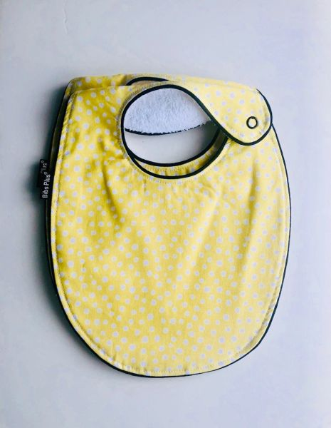 -Handcrafted Triple Layer, Yellow Polka Cotton Fabric