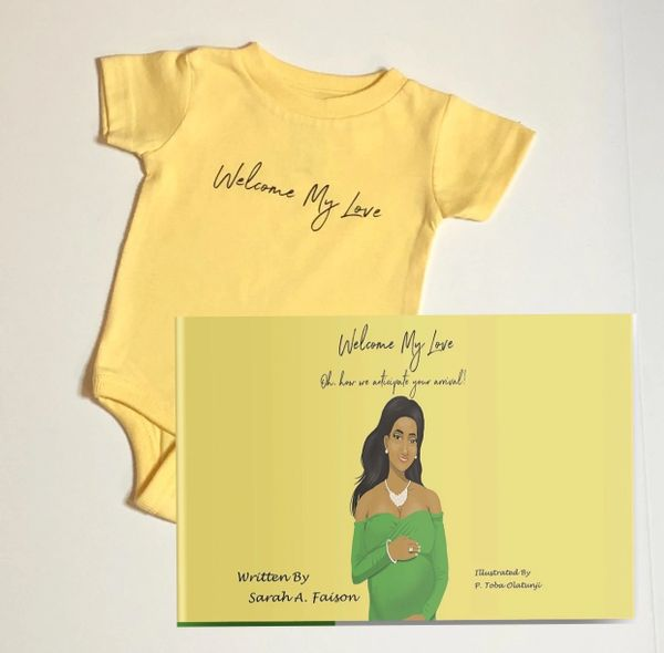 A Book & Infant Yellow Welcome My Love Onesie