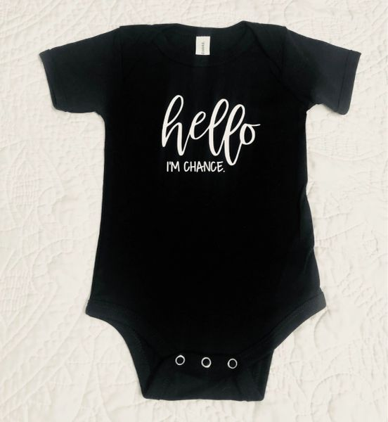 Hello I'm _________ Vinyl Imprint Personalized Bodysuit/Onesie