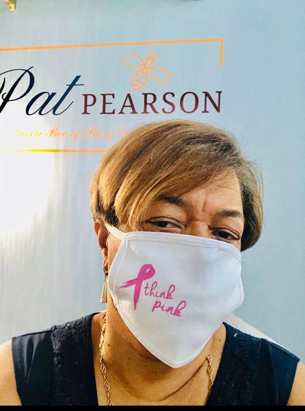 Adult Reusable Think Pink Cotton Cloth Vinyl Imprint Message Face Masks
