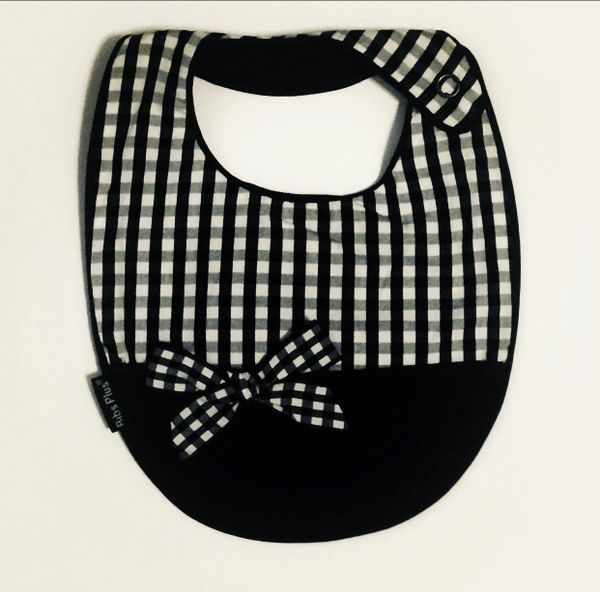 -Handcrafted Triple Layered, Black and White Gingham, with Crumb Catcher Bib
