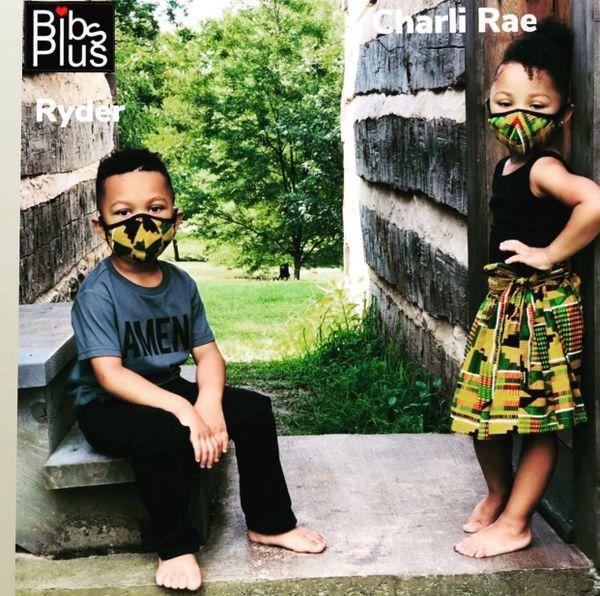 -Children Size Reusable Cotton Cloth Kente Face Masks