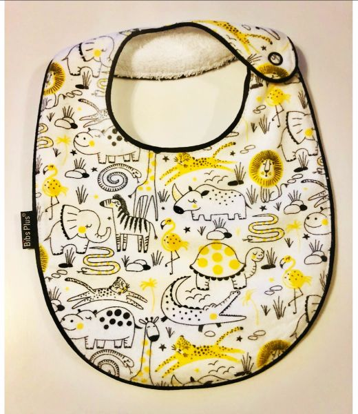 -Handcrafted Triple Layer Animal Bib - Yellow, Black & White Gender Neutral Baby Bib