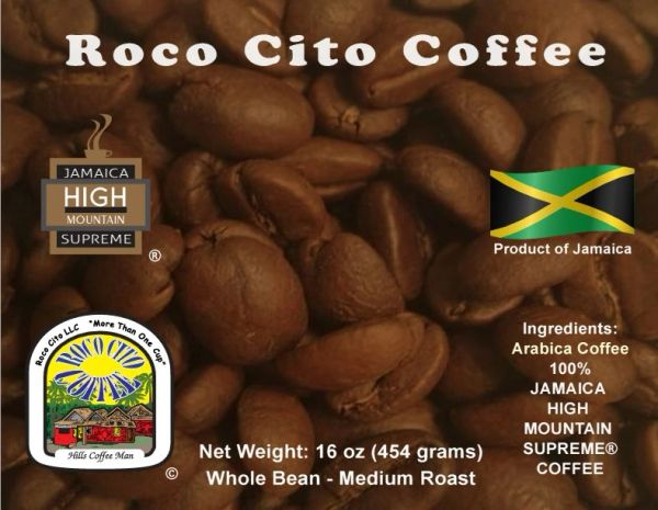 4 Pounds of Jamaica High Mountain Supreme Coffee - Whole Beans - Package in 16oz Bags