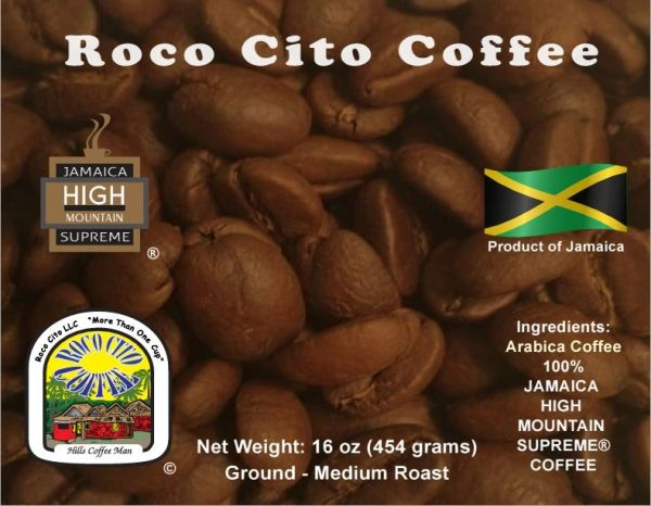 10 Pounds of Jamaica High Mountain Supreme Coffee - Ground - Package in 16oz Bags