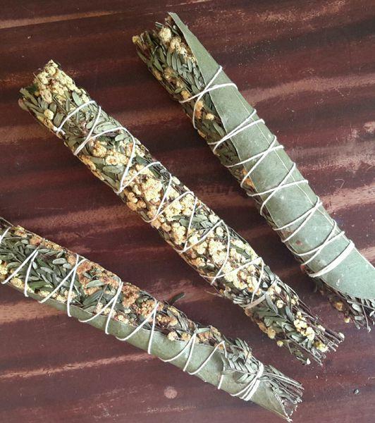 Wattle Blossom & Eucalyptus ~ Sacred Smoke Ceremony Wand ~ Australian Native Plant Medicine