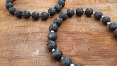 Lava Stone Aromatherapy Bracelete ~ Essential Oil Diffuser ~ Handknotted with Silk