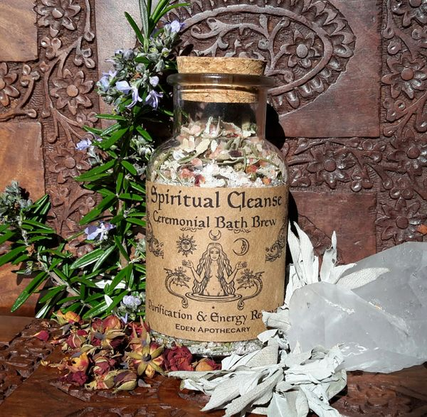 Spiritual Cleanse ~ Organic Botanical Bath Brew ~ Ceremonial Bath Soak for Purification & Energy Renewal ~ Esoteric Alchemy