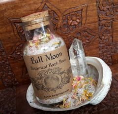 Full Moon ~ Organic Botanical Bath Brew ~ Clear Quartz Crystal Infused ~ Lunar Bathing Ritual