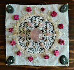 Sacred Geometry Crystal Grid ~ Flower of Life ~ Natural Cotton Cloth