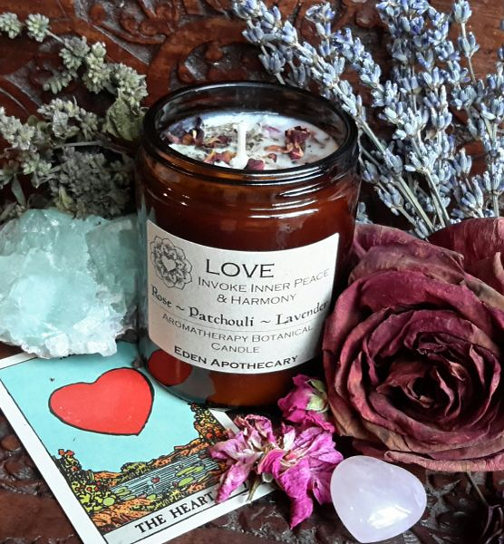 Invoke LOVE ~ Alchemy Botanical Candle ~ Pure Essential Oils of Rose ~ Lavender France & Patchouli