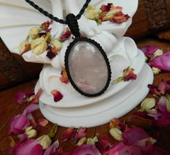 Rose Quartz Crystal Pendant | Handknotted Necklace Over Heart | Aphrodite Energy