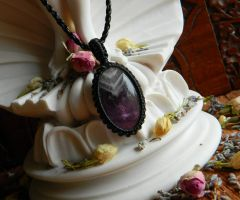 Amethyst Crystal Pendant | Handknotted Necklace Over Heart | Mental Clarity