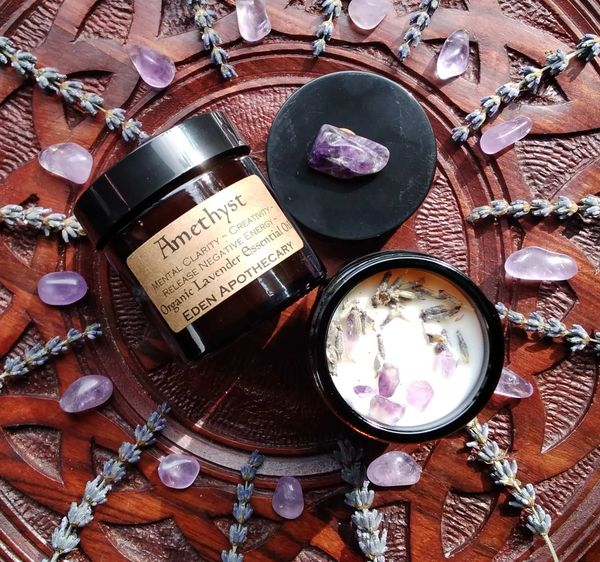 Amethyst & Lavender | Herbal Alchemy Candle ~ Sacred Space | Mental Clarity ~ Creativity ~ Protection ~ Psychic Awareness ~ Meditation.