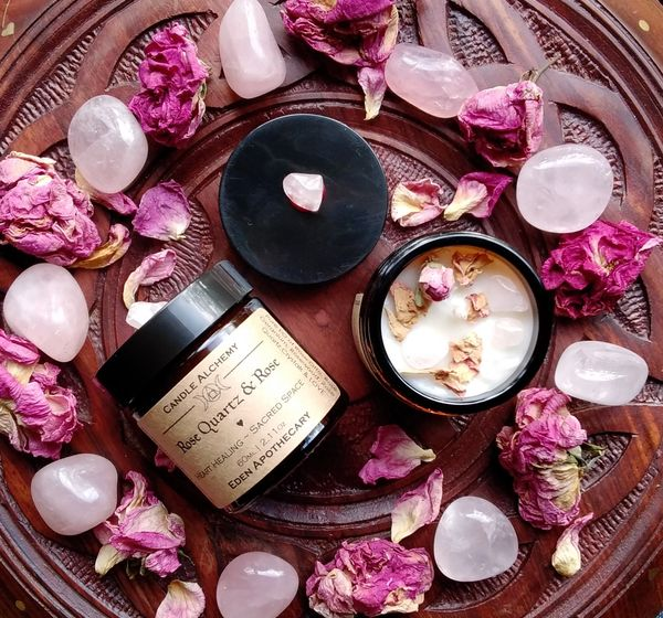 Rose Quartz & Rose Candle Alchemy | Pure Essential Oil | Heart Healing ~ Self Love ~ Divine Love ~ Inner Peace ~ Heart Energy Meditation