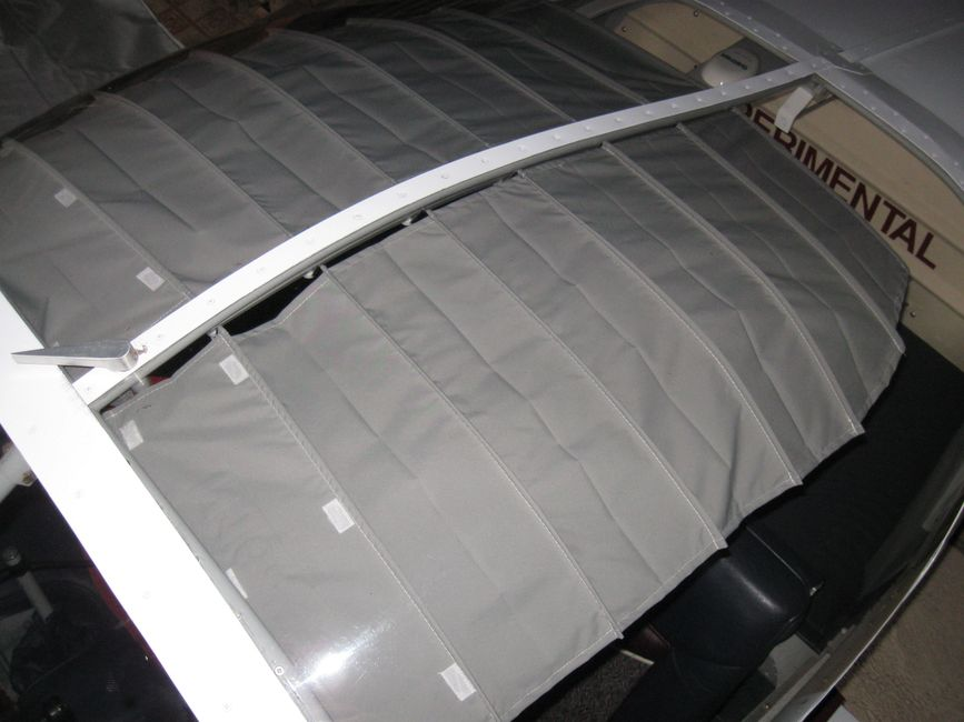 Large super slider Koger sunshade in experimental aircraft