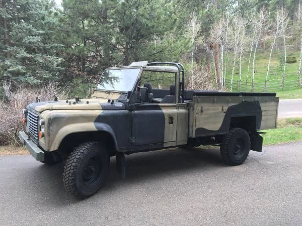 1990 Land Rover Defender 127 Pickup / Troop Carrier with Canvas Top -- British Military Surplus -- Left Hand Drive