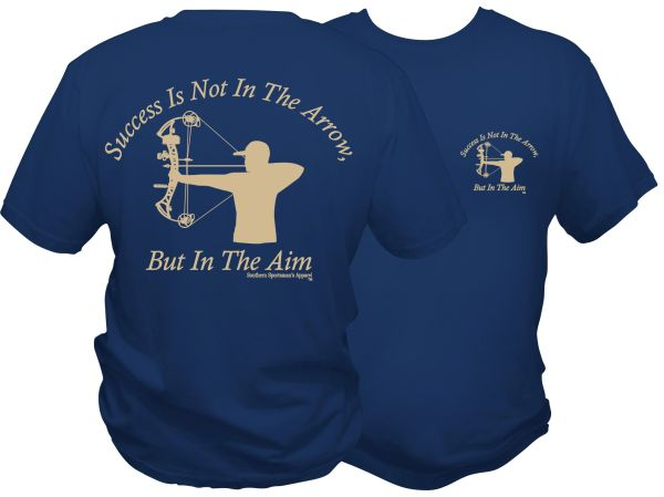 Success Is Not In The Arrow, But In The Aim (Men's Version) Harbour Blue with Khaki Print.