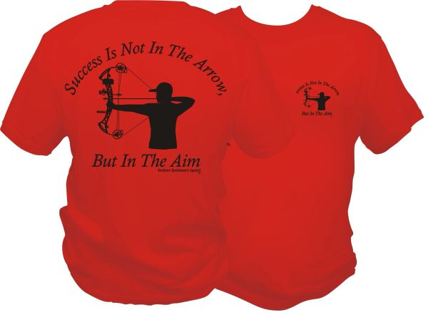 Success Is Not In The Arrow, But In The Aim (Men's Version) Laser Red with Black Print.