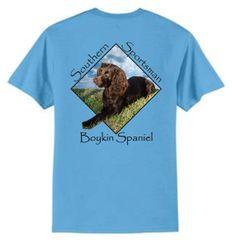 Boykin Spaniel Aquatic Blue Short Sleeve T Shirt