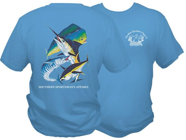 Salt Water Angler DRI Fit Southern Sportsman Short Sleeve Columbia Blue