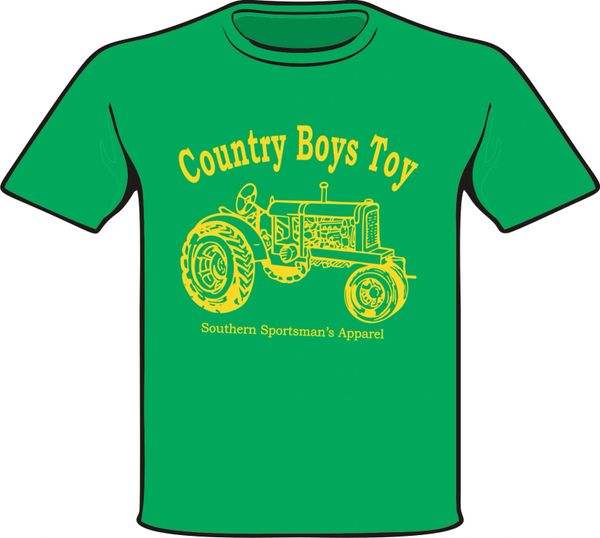 Country Boys Toy ( Toddler, and Infant ) Short Sleeve and Long Sleeve Kelly Green Shirts printed with Yellow