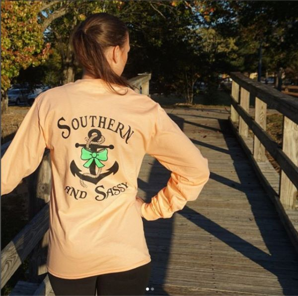Southern and Sassy Anchor and Bow - Long Sleeve T Shirts ( 3 Different Colors ) Southern & Sassy COLLECTION.