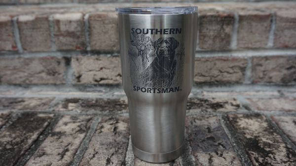 Black Lab Engraved Tumblers and Can Holders 30 oz and 20 oz Slide Open and Close Lid.