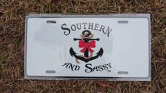 Southern And Sassy Anchor And Bow Logo Metal License Plate