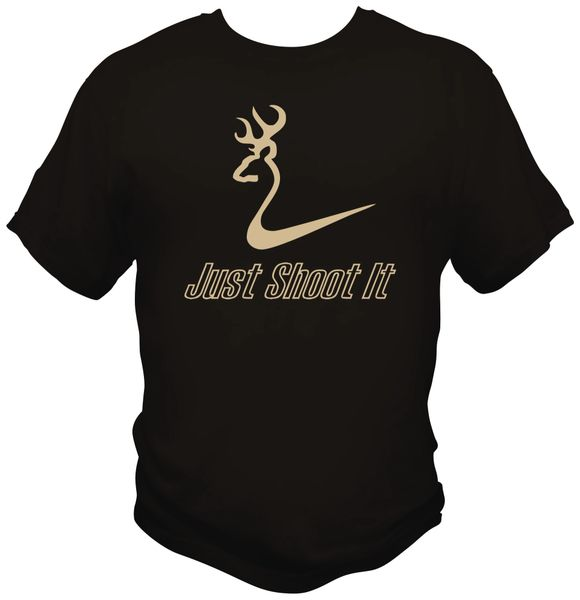Just Shoot It Mens Short Sleeve T-Shirt, Black with Khaki