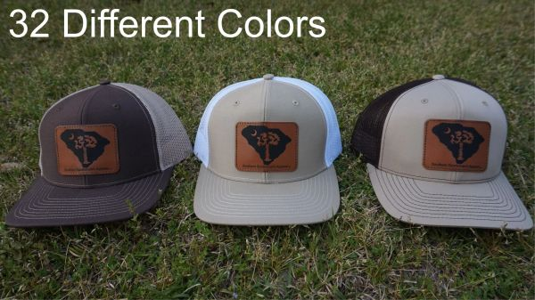 South Carolina Logo Leather Patch Hats in 32 Different Colors. Southern Sportsman's Apparel
