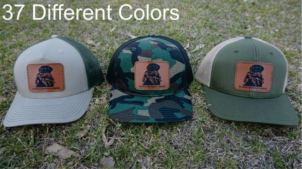 Lab with Duck In Mouth Leather Patch Hats in 37 Different Colors. Southern Sportsman's Apparel