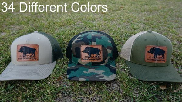 Hog Leather Patch Hats in 34 Different Colors. Southern Sportsman's Apparel